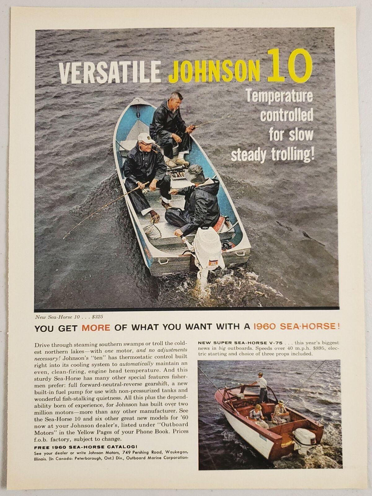 1960 Print Ad Johnson Sea-Horse 10 Outboard Motors & V-75 40 MPH - $15.13