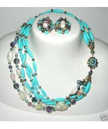 VINTAGE BEAD BLUE ART GLASS CRYSTAL BIB NECKLACE & EARRINGS SIGNED DEMI ... - $90.00