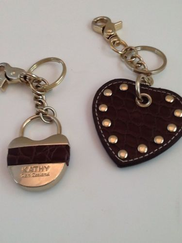 Kathy Van Zeeland Brown Studded Rhinestone Buckle Straps Faux Suede Two Keychain