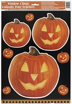 Carved Pumpkin Halloween Window Cling Sheet - £5.97 GBP