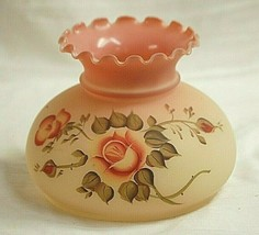 Fenton Art Glass Burmese Globe Ruffled Top Rose Pattern Vintage - $257.39