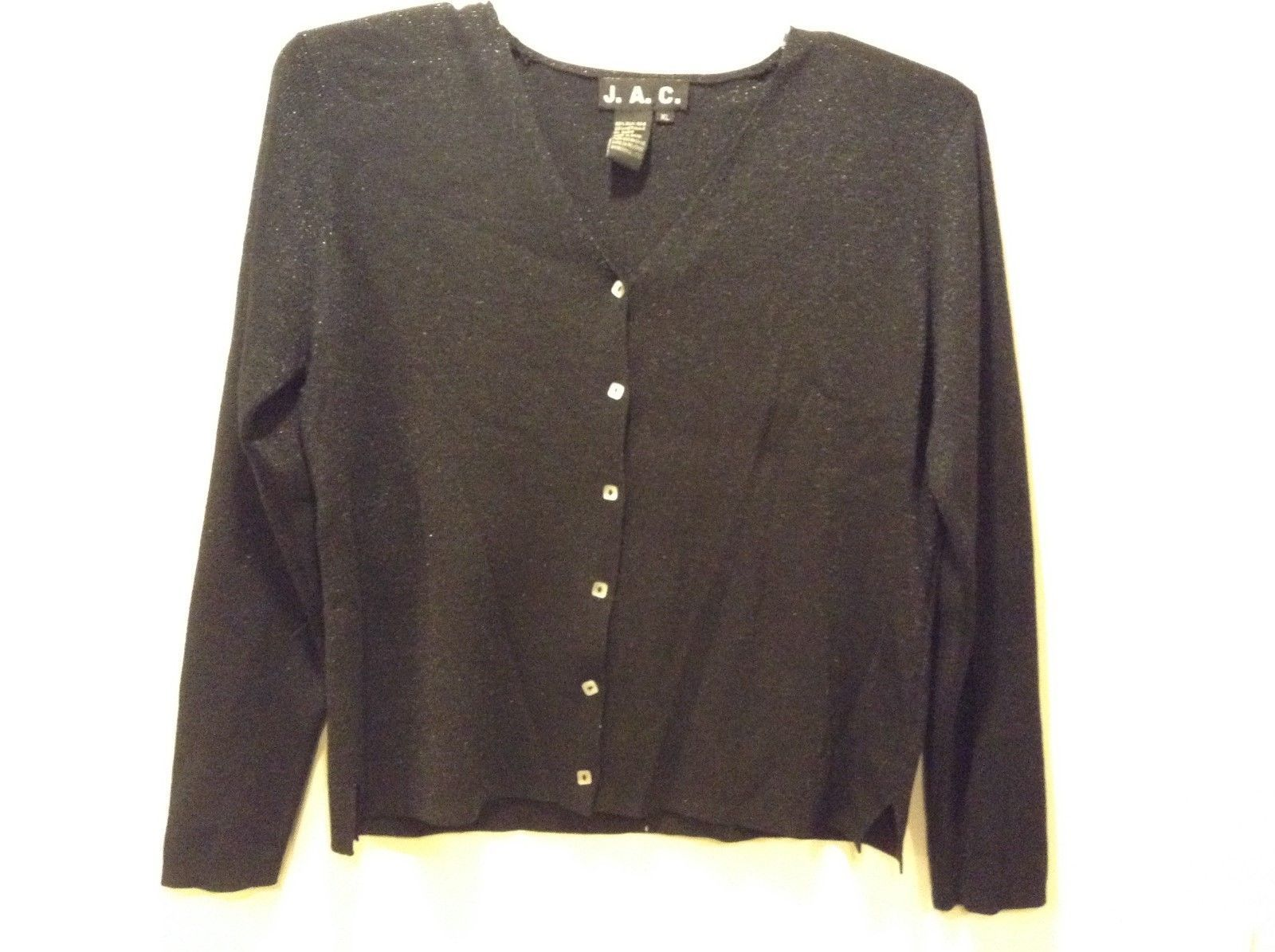 J.A.C Women's V-Neck Black Metallic Button Up Cardigan Sweater Sz XL
