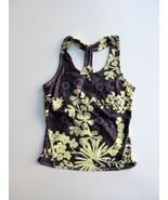 $49 Reebok Rbk Retro Floral Printed Sliding Racerback Workout Top M - $21.78