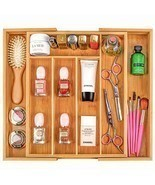Silverware Utensil Tray Wooden Adjustable Cutlery Drawer 5 Compartments Organize - £27.41 GBP