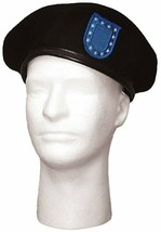 Black Beret Wool with Blue Flash & Clutch Military Uniform US Army Type - $16.99