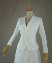 Women's White Suit Jacket White Asymmetrical Collar Boho Wedding Bridal Outfits image 1