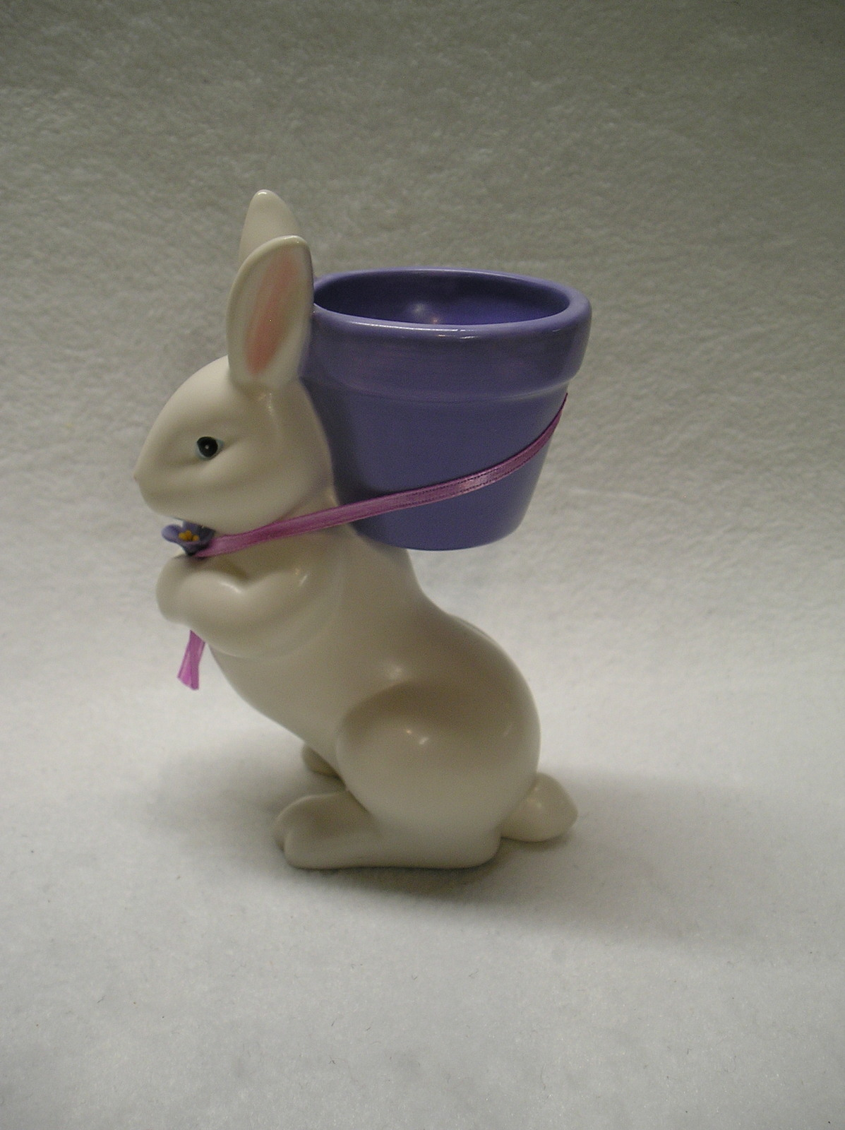 Dept 56 Bunny With Basket Taper Or Tealight Candle Holder. White Rabbit .