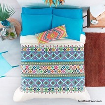 INDIA TRIBU Blanket Comforter Reversible FULL/QUEEN GIFT Blue White HOT ... - $138.60