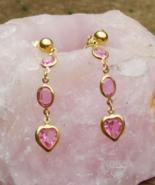 Sweetheart Pink Rhinestone Dangle Clip Earrings by Trifari - $48.00