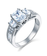 925 Sterling Silver Vintage Style 3-Stone Bridal Wedding Engagement Ring... - $99.99+