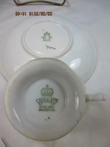 Aynsley Tea Cup & Saucer Set Lime Green with Scenery embossed design detail image 5