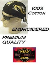 LOT 6 GOLD DRAGON SERPENT EMBROIDERED FITTED BANDANA TIED Doo Rag Skull ... - $25.37