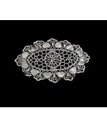 Lacy Chain of Hearts Linen Hand Crochet Off White Doily Cottage Chic Ste... - $12.90