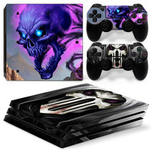 Sony PS4 PRO Cool Skull Console & 2 Controllers Decal Vinyl Skin Art Wrap  - $14.82