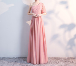 BLUSH Chiffon Bridesmaid Dresses Blush Pink Spaghetti Cap Sleeve Maxi Prom Dress image 4