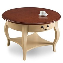 Round Modern Coffee Table Ivory Home Decor Storage Drawer Solid Sturdy F... - €219,43 EUR
