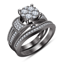 Women's Engagement Ring Bridal Set 14k Black Gold Plated 925 Silver Round Cut CZ - $104.50
