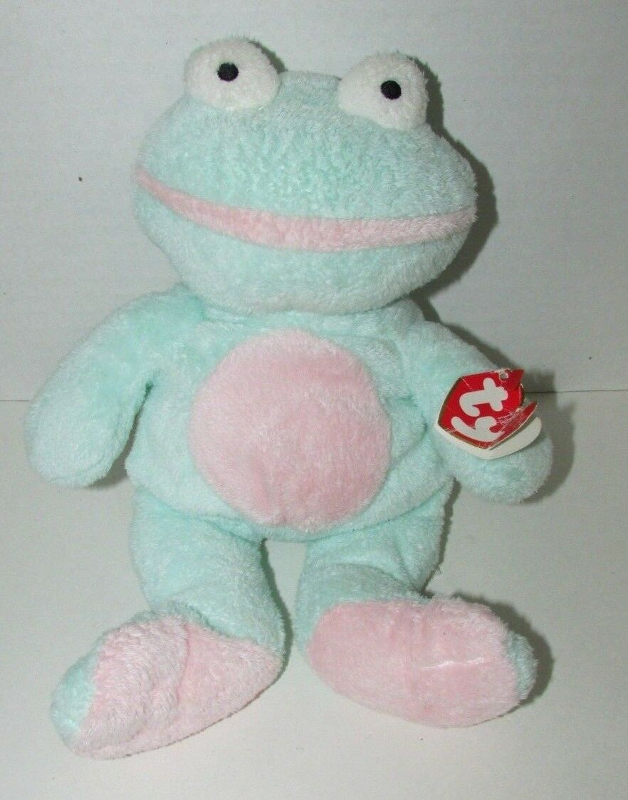 Primary image for Ty Pluffies GRINS Frog Plush Green Pink Froggy Stuffed Animal 2002 Tylux w/ tag