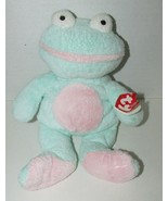 Ty Pluffies GRINS Frog Plush Green Pink Froggy Stuffed Animal 2002 Tylux... - $9.89