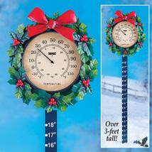 Wreath Outdoor Thermometer Snow Gauge Christmas Decoratio - $12.48