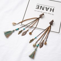 Antique Boho Bohemian Ethnic Handmade Long Tassel Dangle Drop Earrings f... - $7.43