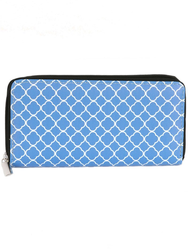 Quatrefoil Print Zip Around Wallet Clutch Purse (Blue)