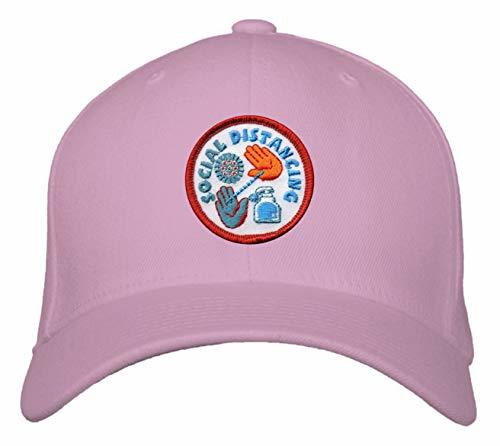 Social Distancing Hat - Adjustable Pink Cap Awareness Wash Hands