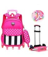 Removable Wheels Children Schoolbag Stairs Kids Trolley Girls Wheeled Ba... - $29.99+