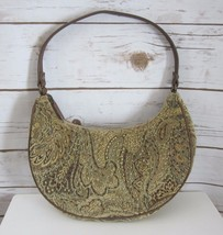 FOREVER BY FOSSIL Beige Brown Glass Beaded Paisley Tapestry Small Hobo Bag - $23.76