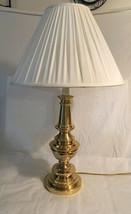 Brass Stiffel Trophy Table Lamp W/ Off White Stiffel Pleated Shade - $95.00