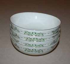 4 Soup Cereal Bowls Gibson Holiday Charm Christmas Holly Gold Trim - $14.80