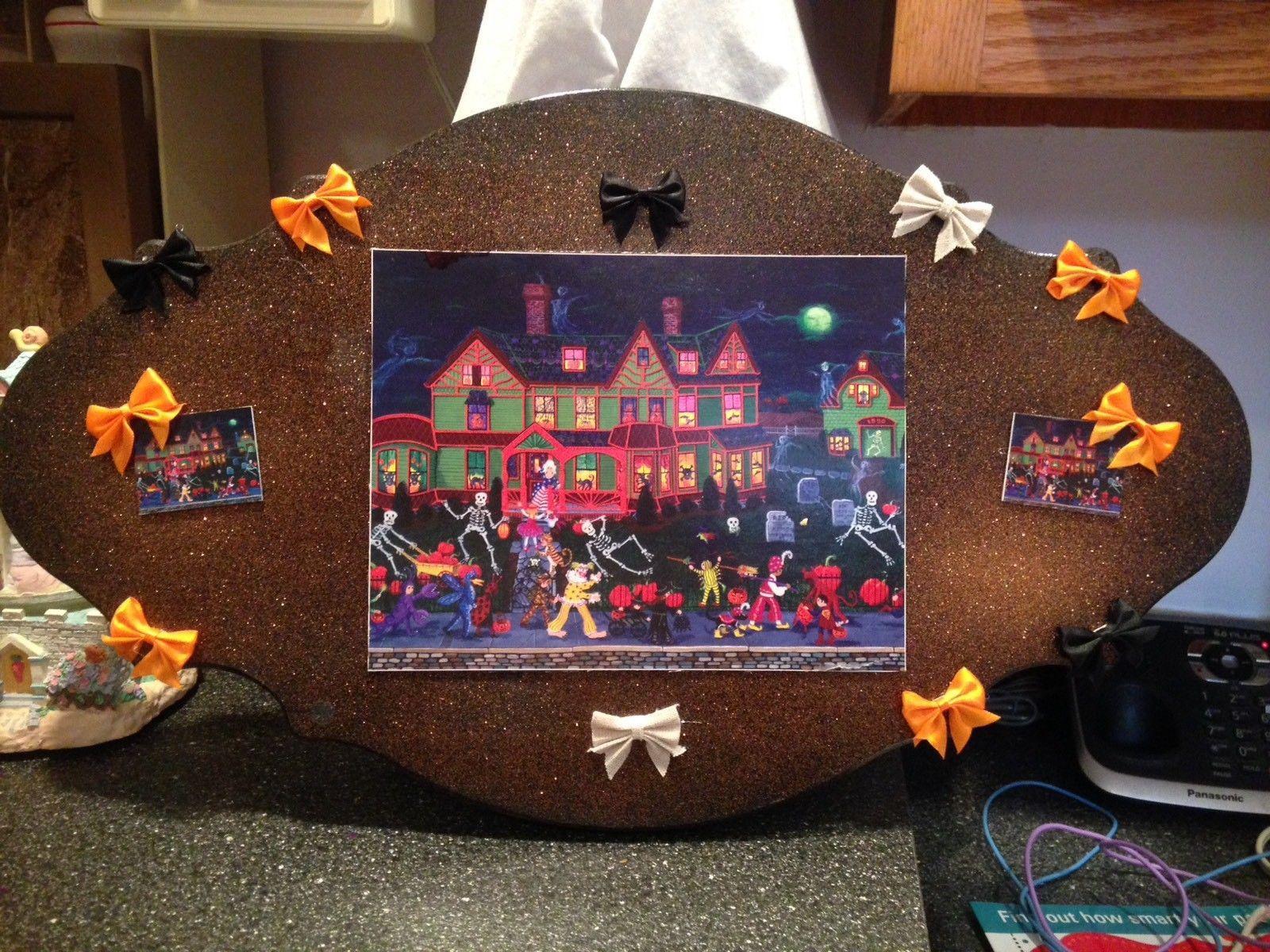 Kemon Sermos Art Halloween Puzzle Box Wood Glitter Plaque Picture Sign w Bows