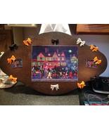 Kemon Sermos Art Halloween Puzzle Box Wood Glitter Plaque Picture Sign w... - $49.99