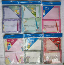 Disney's Stationary Set Note Paper Envelopes Fairies Alice Dopey Princess Cars - $10.00
