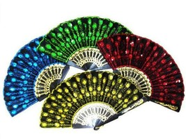 12 SEQUIN EMBROIDERIED HELD HAND FANS novelty 8 inch fan new LADIES acce... - $22.55