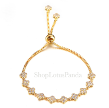EXQUISITE 18kt Gold Plated CZ Crystals Clover Clovers Links Chain Bracelet - $17.99