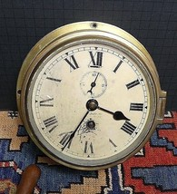 Antique T.L. Ainsley Ltd. England Maritime/Ship's Brass Bulkhead Clock W... - $293.29