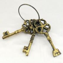 "Old World Gold Keys Faux Vintage 5"" Heavy Metal ~ Set of 3 on Key Ring - $19.95"