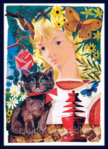 ALICE & CHESHIRE CAT in Wonderland 1949 Full Color Illustration by Leonard Weisg - $42.99