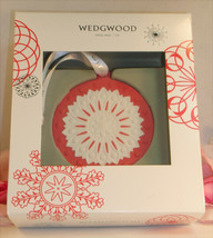 New Wedgwood Red / White Jaspeware Christmas Red NeoClassical Disc Ornam... - $34.99