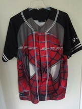 EUC Spider-Man Marvel Comics Premium Button Front Baseball Jersey Shirt Men Lg - $31.18