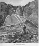 CALIFORNIA Hydraulic Mining in Sierra Nevada - 1883 German Print - $16.20