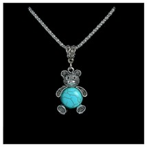 Turquoise Teddy Bear Pendant Necklace With Chain, Antique Silver Vintage... - $3.99