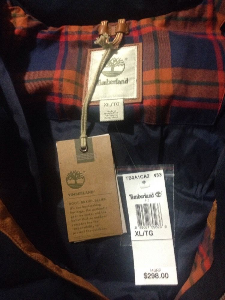 Timberland Men's Mt Davis Waxed Down Jacket, Dark Sapphire. Size:XL