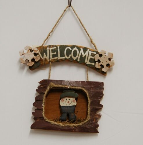 MEI Welcome Snowflake Snowman Wooden Rustic Hanging Sign