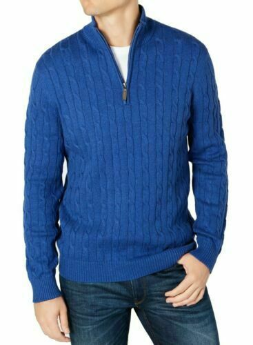 Primary image for Club Room Mens Sweater Blue Size 2XL Ribbed Cable Knit 1/2 Zip Pullover $65 new