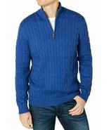 Club Room Mens Sweater Blue Size 2XL Ribbed Cable Knit 1/2 Zip Pullover ... - $25.48