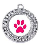 Dog Charm - Round Paw with Crystals Jewelry Silver-tone dog pawprint cha... - $4.90