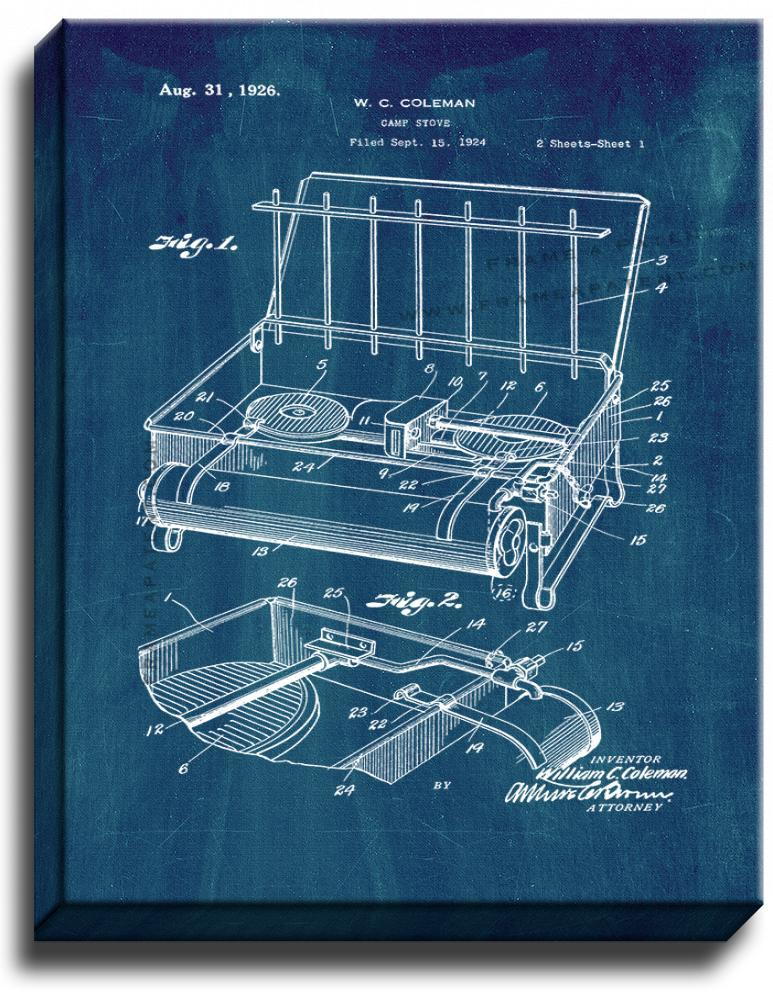 Primary image for Coleman Camp Stove Patent Print Midnight Blue on Canvas