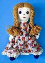 Vintage Handmade Cloth Doll Jointed Braided Yarn Hair Plush Stuffed Toy - $29.69